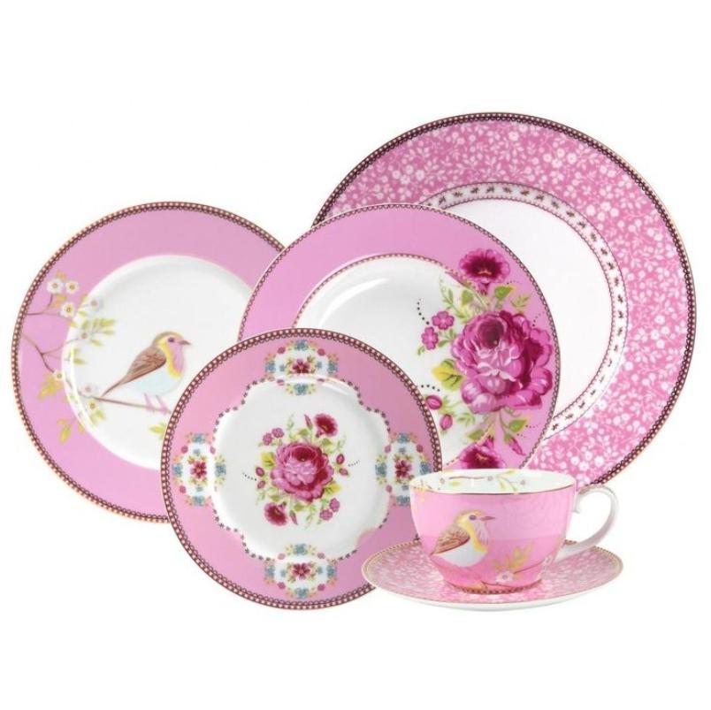 Prato Fundo Rosa Floral Pip Studio