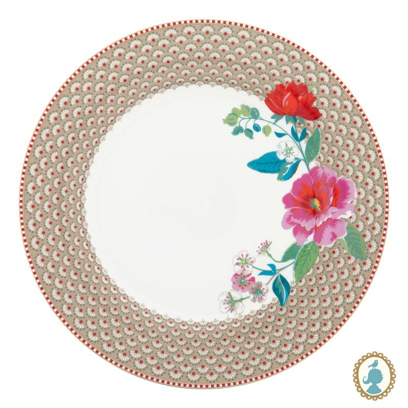 Prato Fundo Rose Cáqui - Floral