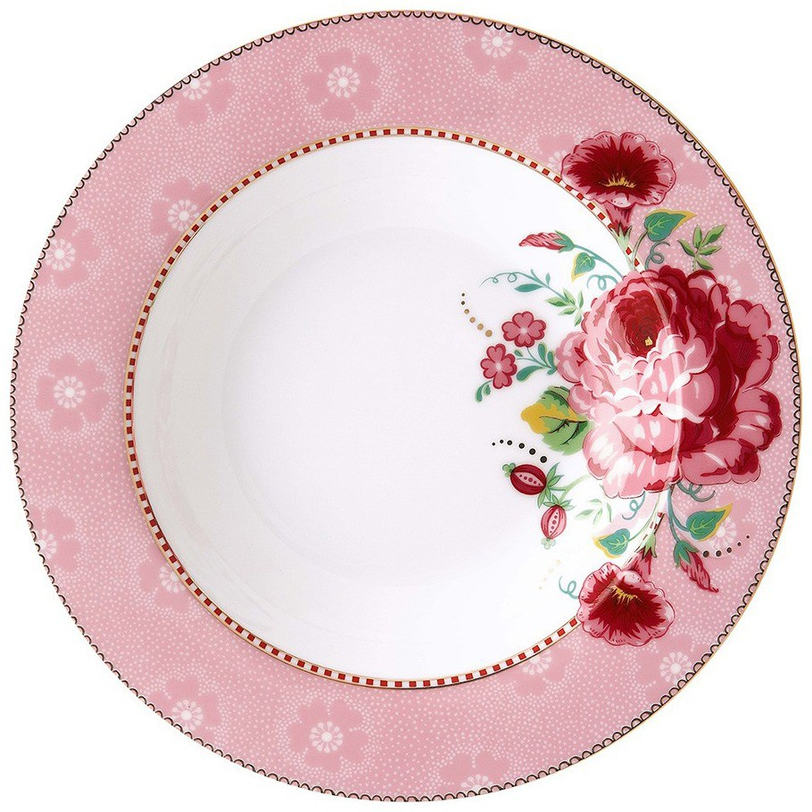 Prato Fundo Rose Rosa Floral Pip Studio