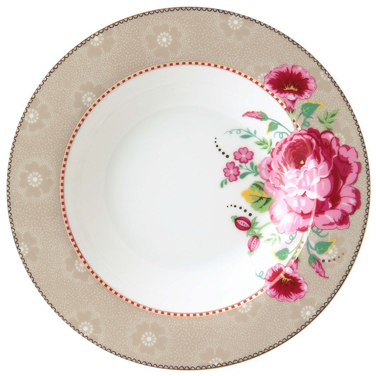 Prato Fundo Rose Cáqui Floral Pip Studio