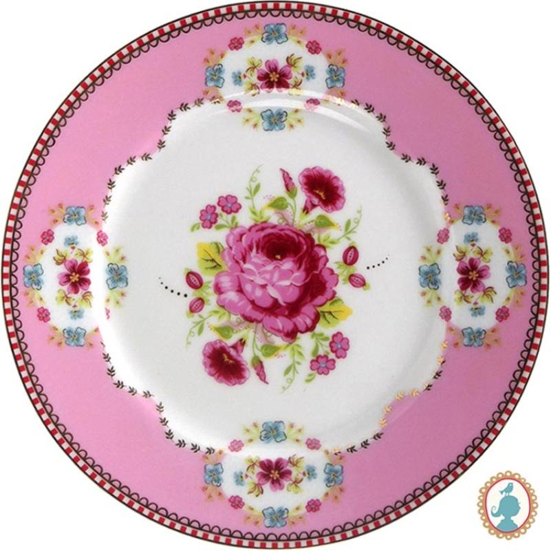 Prato p/ Bolo Pequeno Rosa Floral Pip Studio