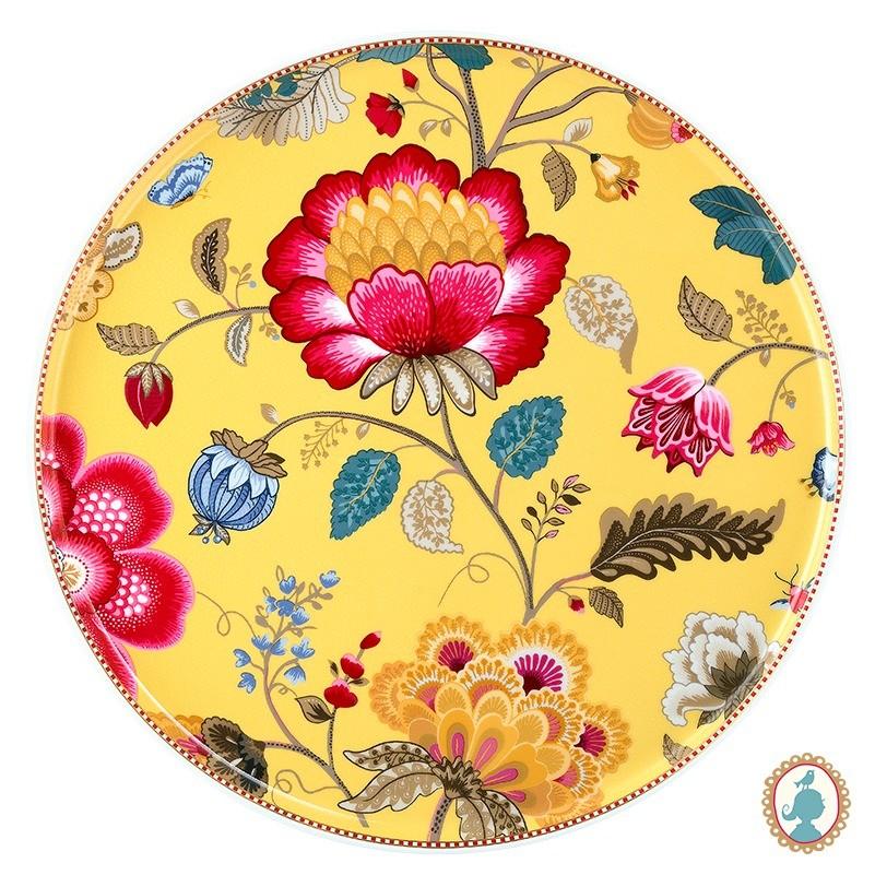 Prato para Bolo Amarelo - Floral Fantasy