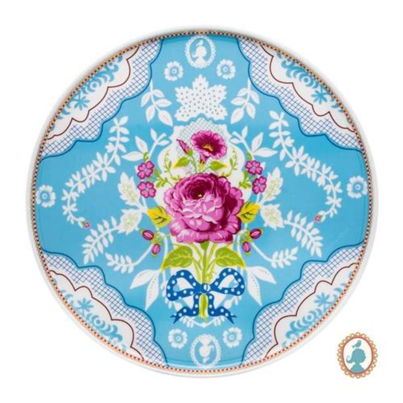 Prato para Bolo Azul Floral Pip Studio