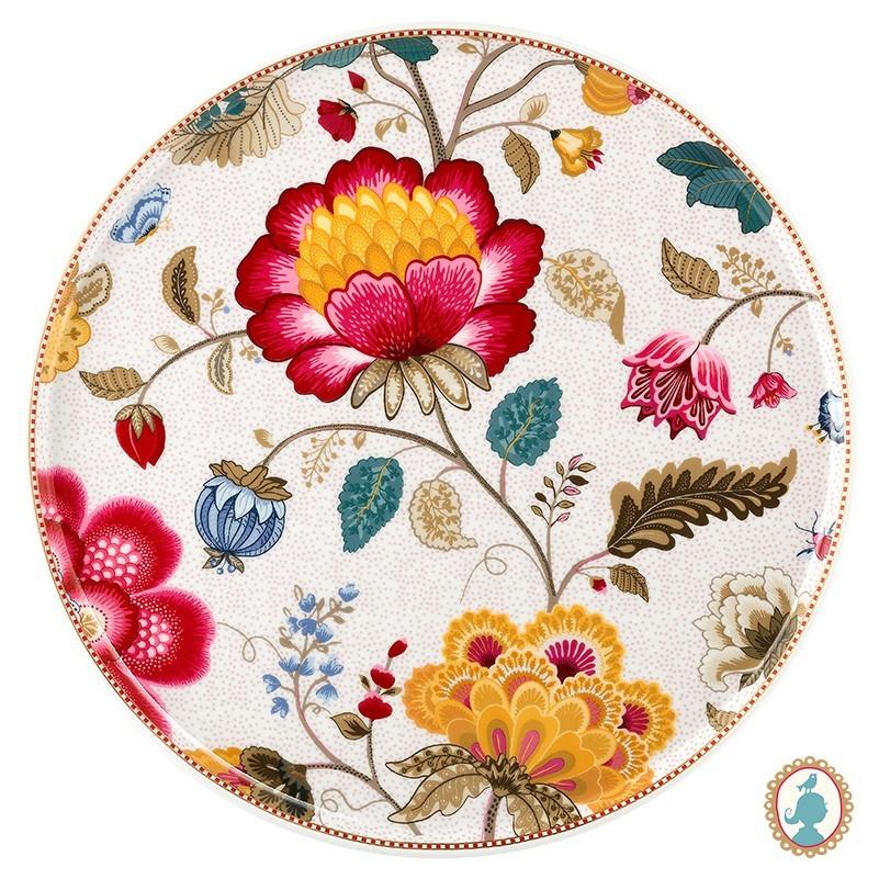 Prato para Bolo Branco - Floral Fantasy