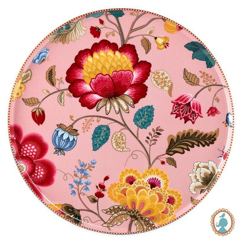 Prato para Bolo Rosa - Floral Fantasy