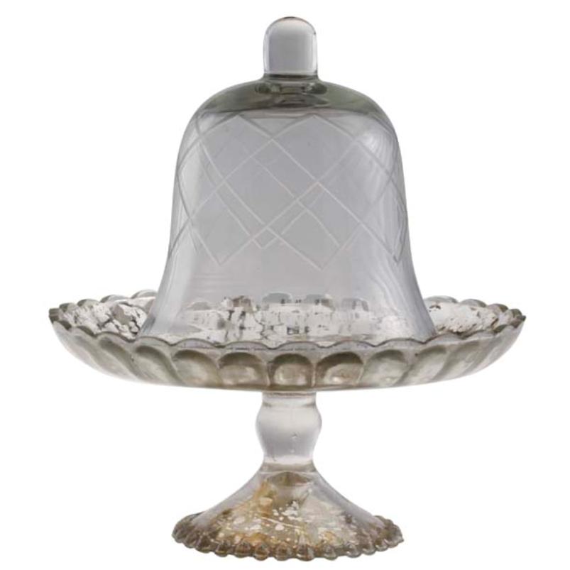 Prato Pedestal Espelhado com Tampa de Vidro 18cm - Cód. 2082