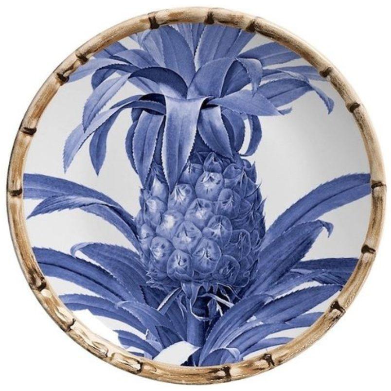 Prato Sobremesa Abacaxi Azul Royal (06 Unidades)