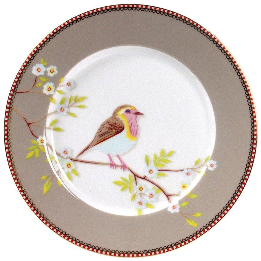 Prato de Sobremesa Early Bird Cáqui Floral Pip Studio