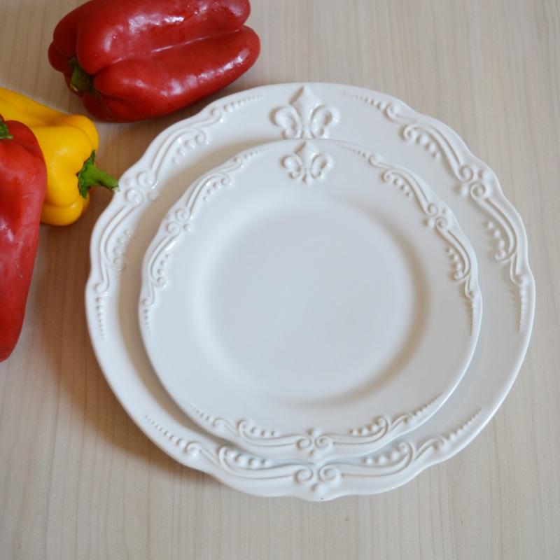 Prato Sobremesa Flor de Lis Branco 20,5cm (6 Unidades)