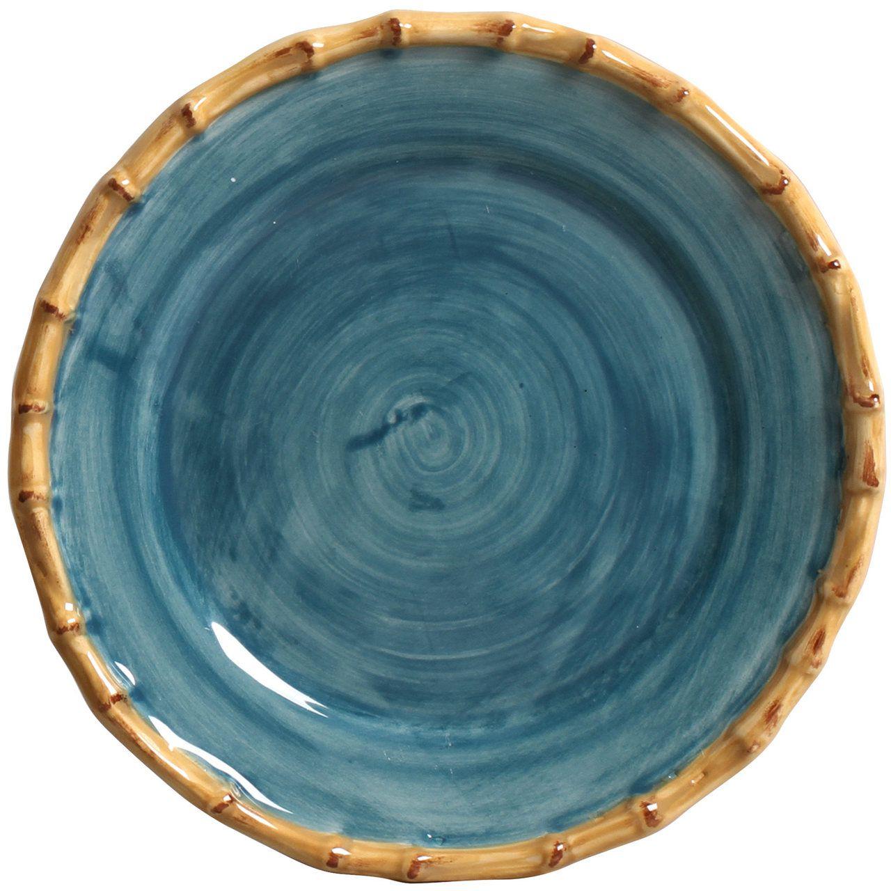 Prato Sobremesa Pintado a Mão Azul (06 Unidades) - MB