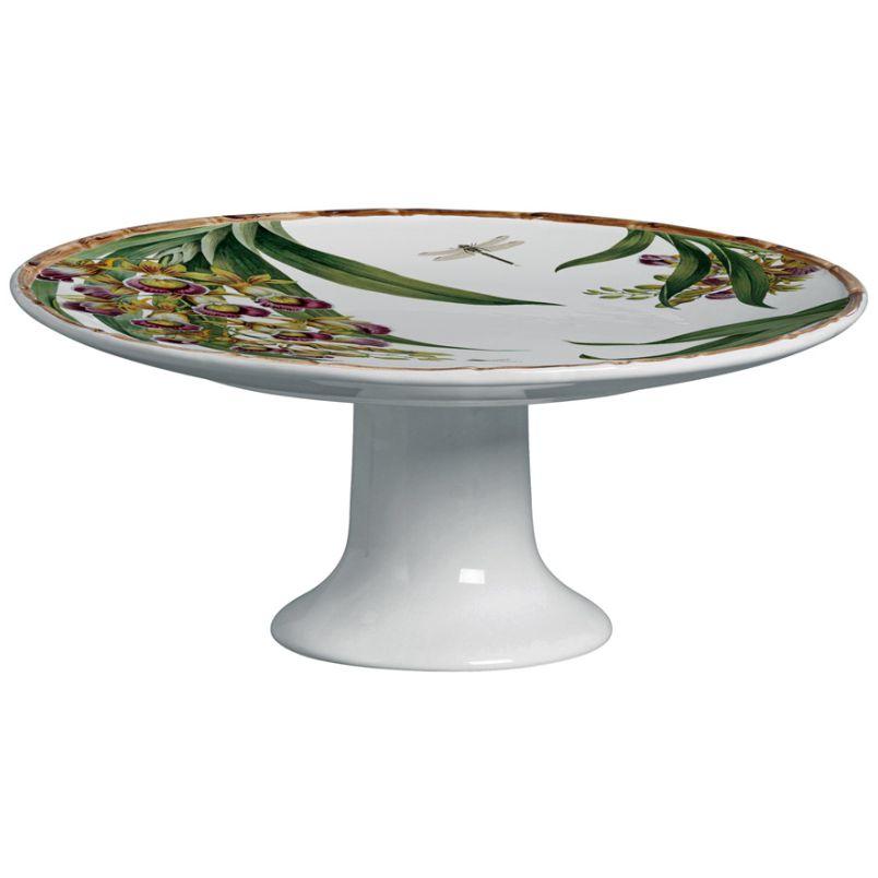 Prato para Torta c/ Pé Orquídeas