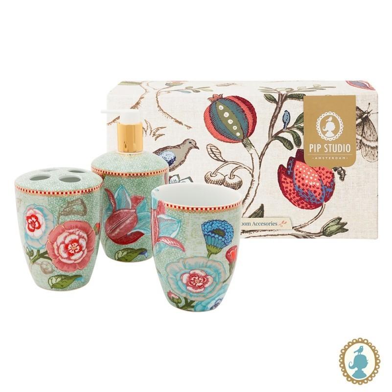Set/3 Acessórios de Banheiro Verde Celadon - Floral Fantasy