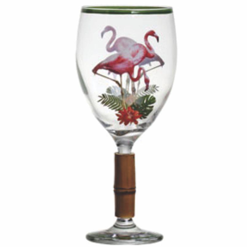 Taça de Água Flamingo com Bambu (6 Unidades)