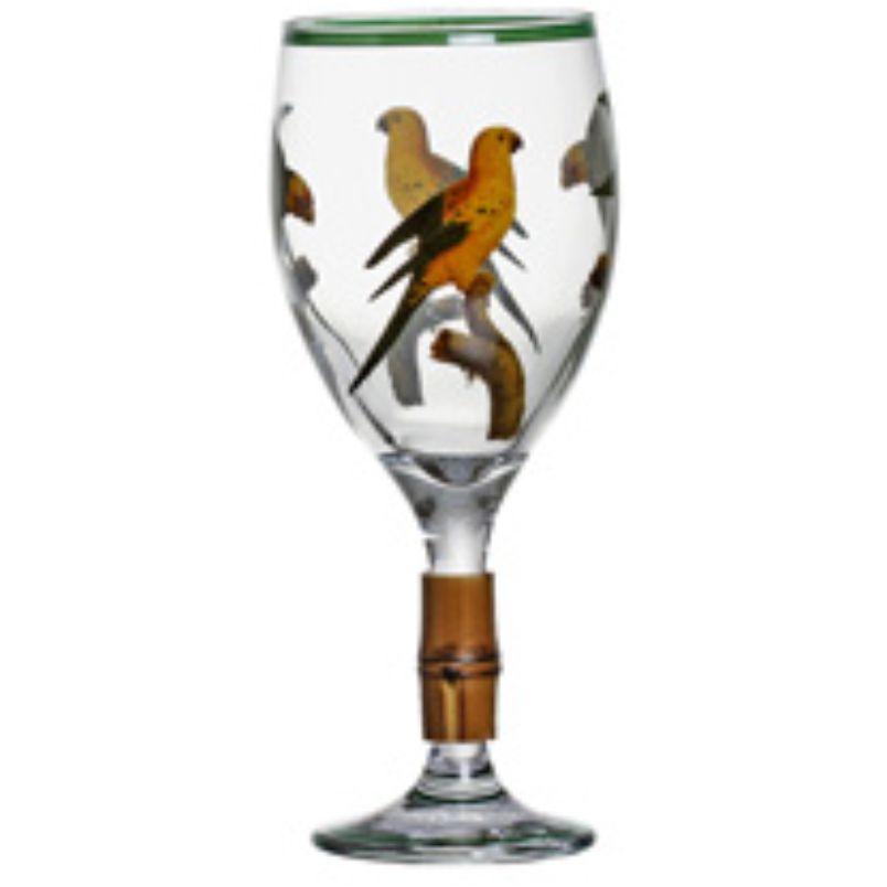 Taça de Vinho Aves do Brasil com Bambu (06 Unidades)