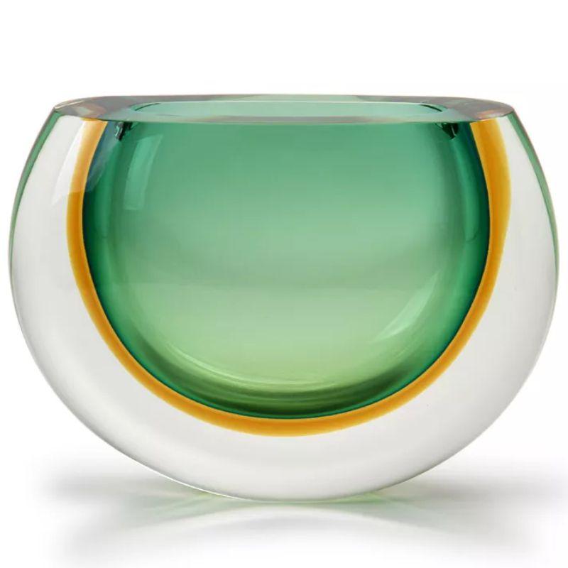 Vaso Bicolor Verde com Âmbar - 16,5cm - Cód: 17124
