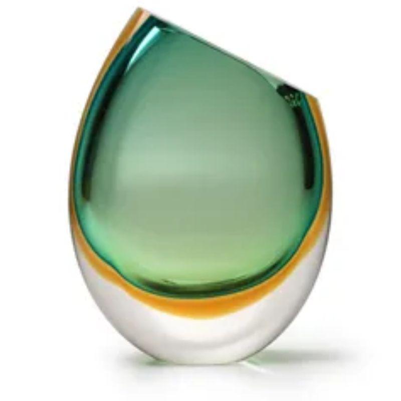 Vaso Bicolor Verde com Âmbar - 26cm - Cód: 15581