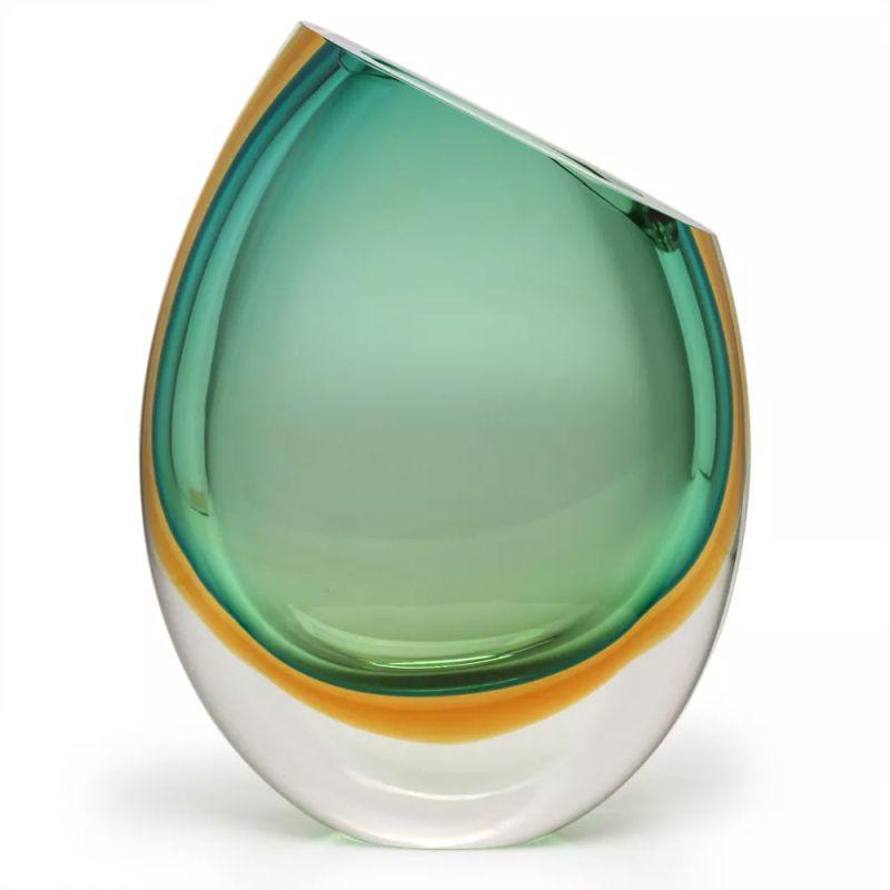 Vaso Bicolor Verde com Âmbar - 33cm