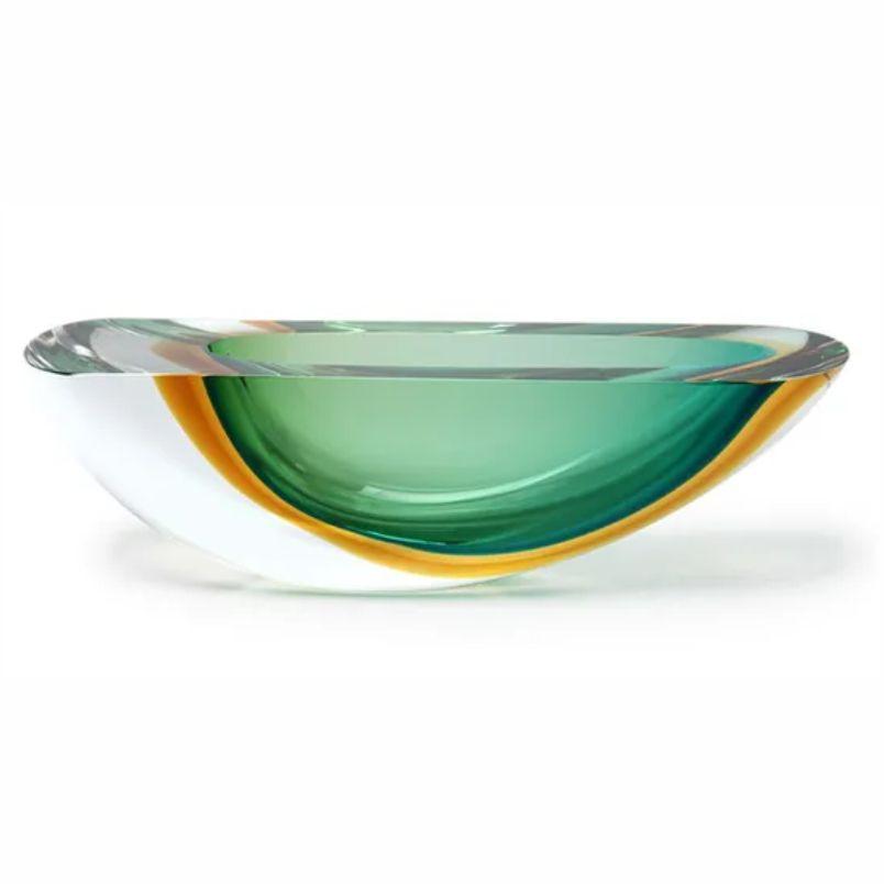 Vaso Bicolor Verde com Âmbar - 8cm - Cód: 15554