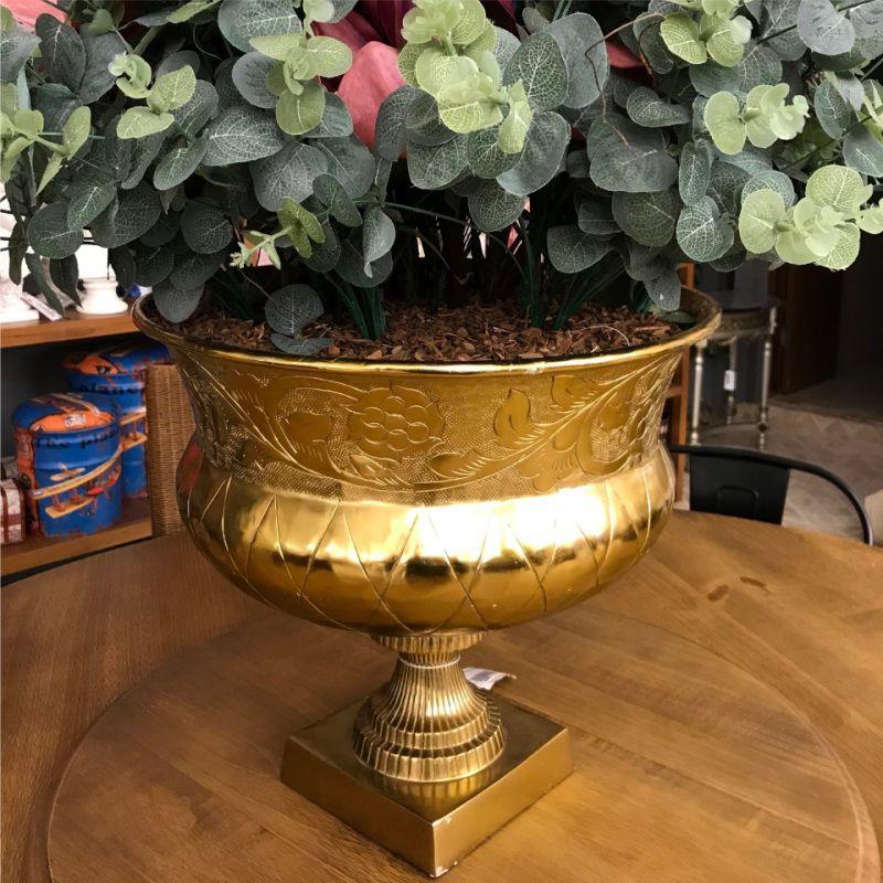 Vaso de Alumínio Dourado 56x47cm - Cód: 12243A