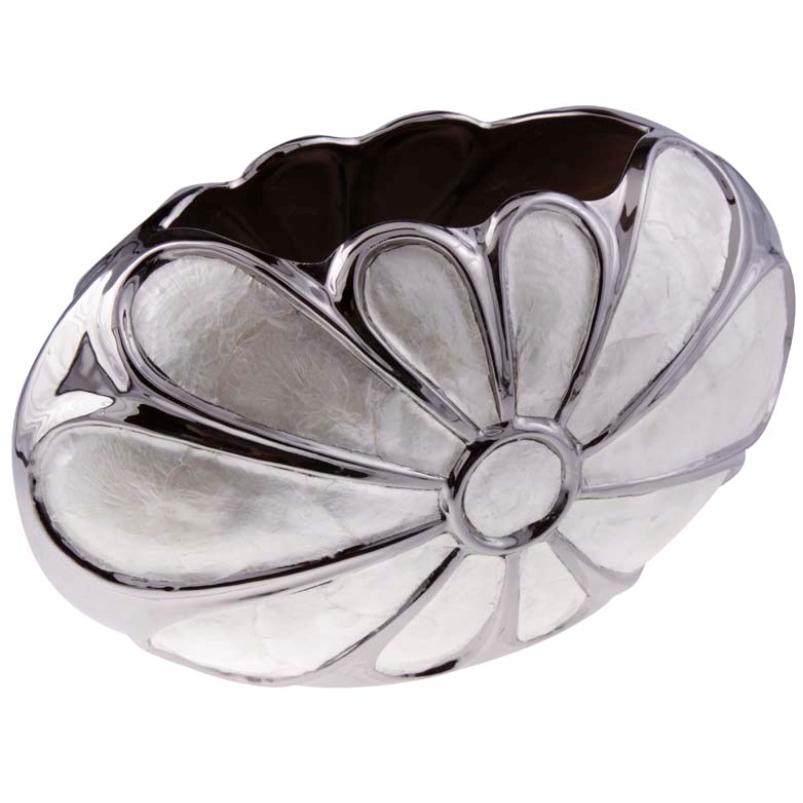 Vaso Decorativo de Madrepérola e Metal 20cm - Cód. 1966