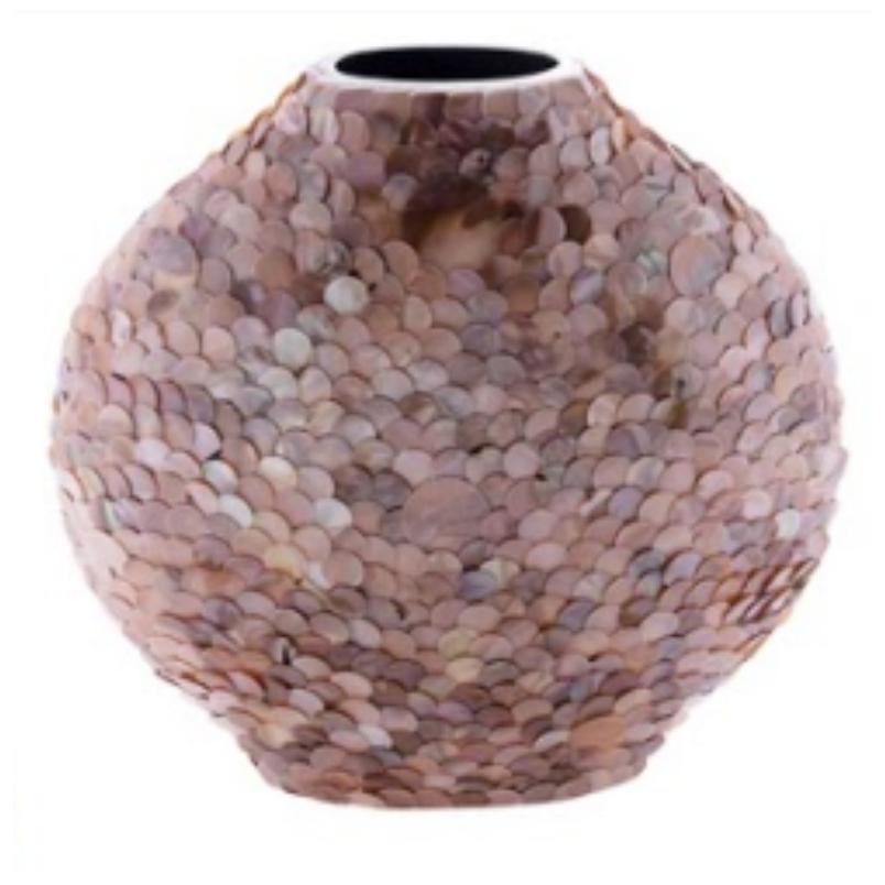 Vaso Decorativo de Madrepérola Marrom 35cm - Cód. 2124