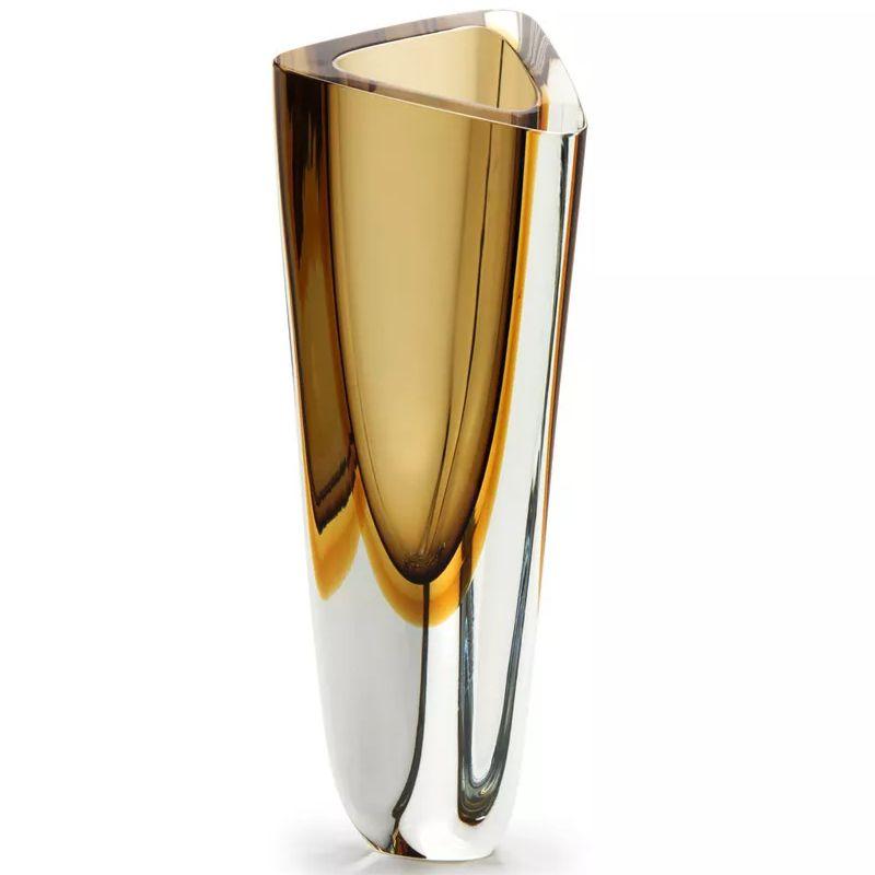 Vaso Triangular Fumê com Âmbar - 36cm - Cód: 17055