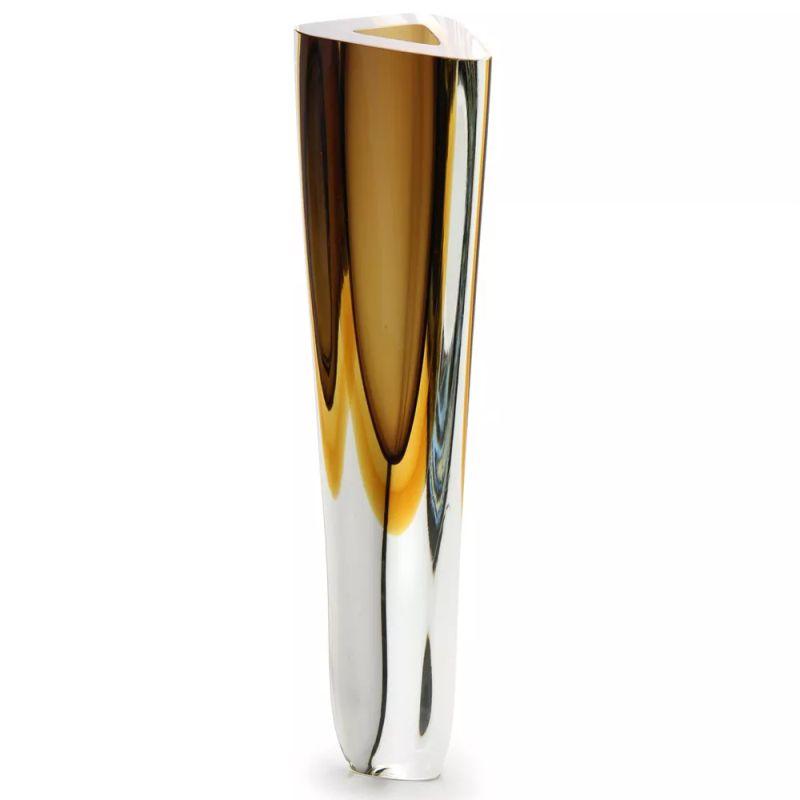 Vaso Triangular Fumê com Âmbar - 42cm - Cód: 17045