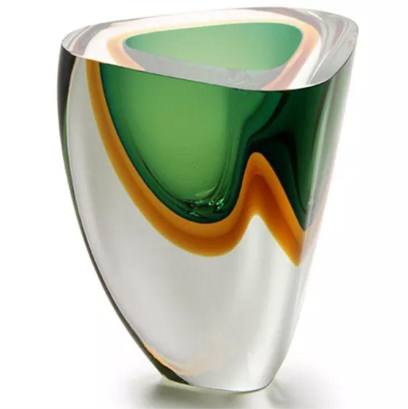 Vaso Triangular Verde com Âmbar - 21cm - Cód: 17074