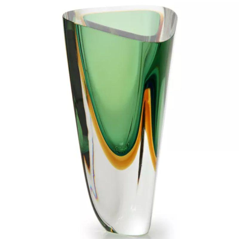 Vaso Triangular Verde com Âmbar - 26cm - Cód: 17064