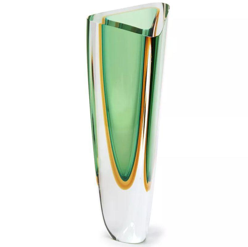 Vaso Triangular Verde com Âmbar - 36cm - Cód: 17054
