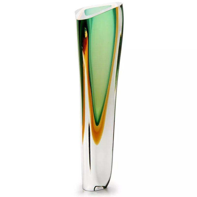 Vaso Triangular Verde com Âmbar - 42cm - Cód: 17044