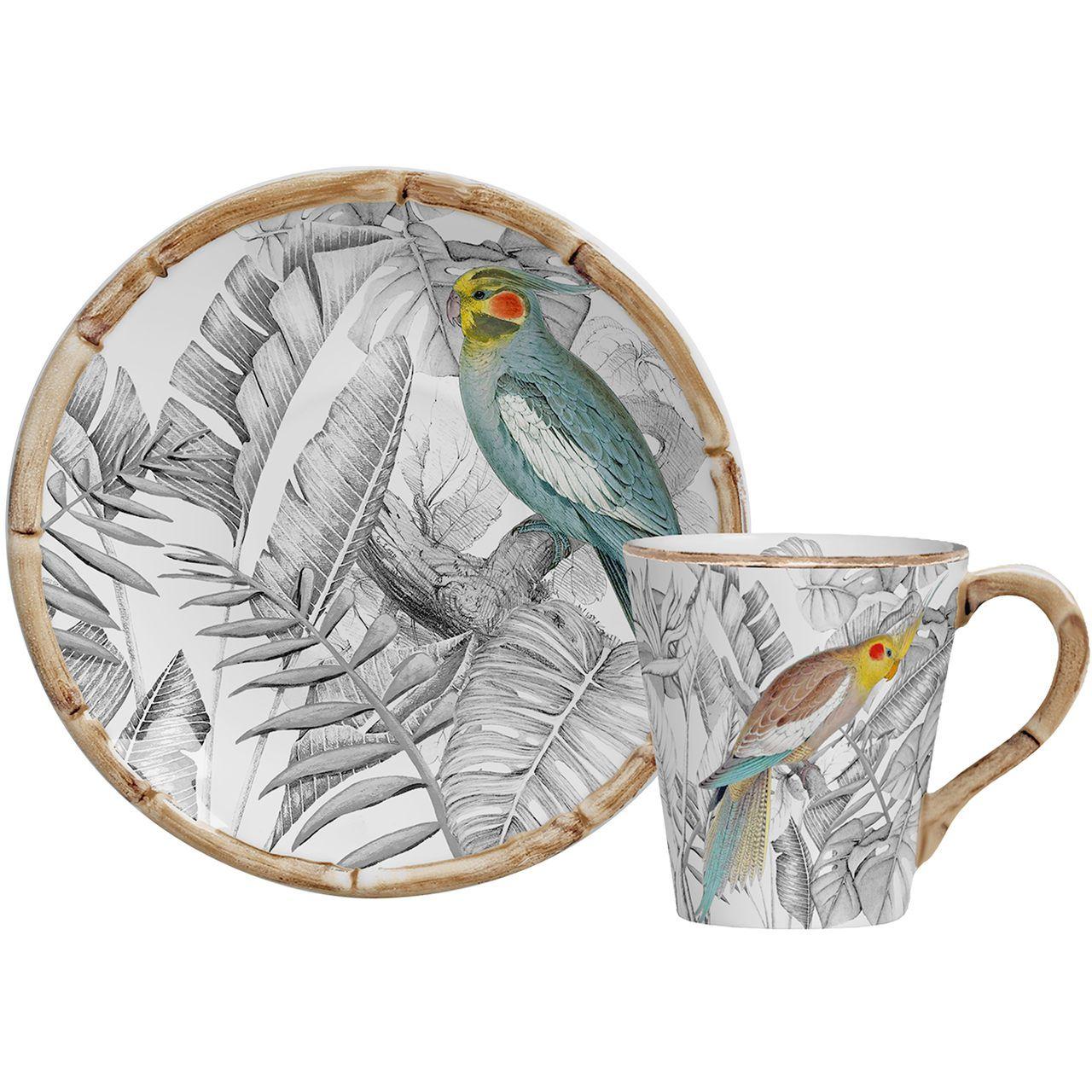 Xícara de Chá c/ Pires Colorfull Birds (06 Unidades) Cód.: 7867 - MB