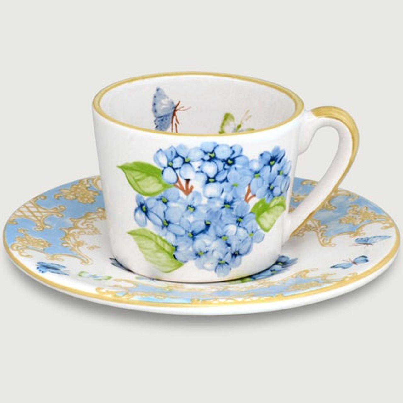 Xícara de Chá c/ Pires Hortênsia (06 Unidades) - LS