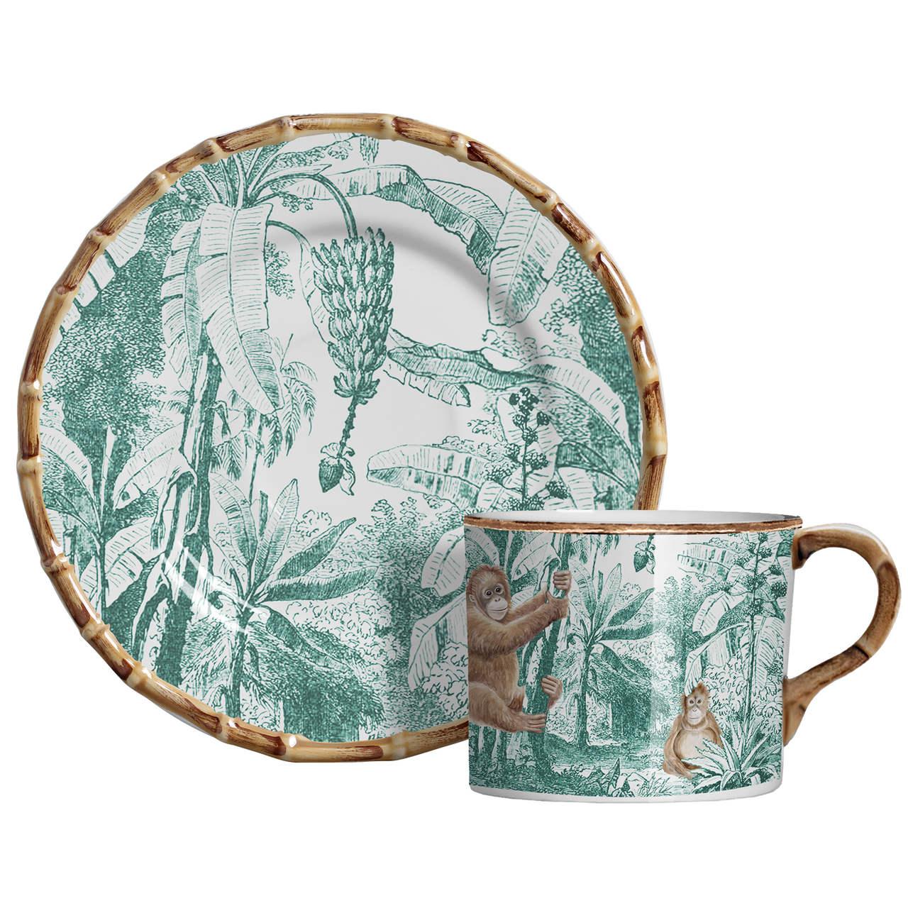 Xícara de Chá c/ Pires Macaco African Toile (06 Unidades) Cód.: 6103 - MB