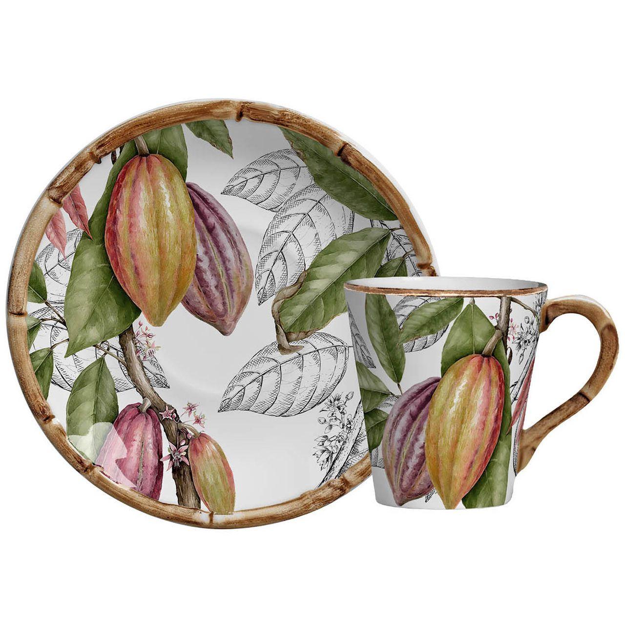 Xícara de Chá C/ Pires Nostri Frutti Cacau (06 Unidades) Cód.: 8170 - MB