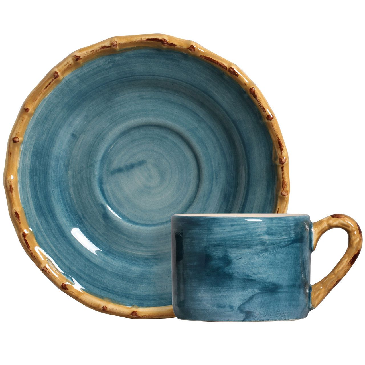 Xícara de Chá c/ Pires Pintado a Mão Azul (06 Unidades) - MB