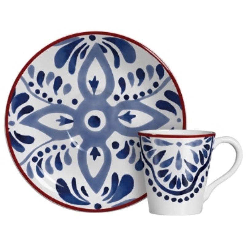 Xícara p/ Café Aquarelle Azul (6 Unidades)