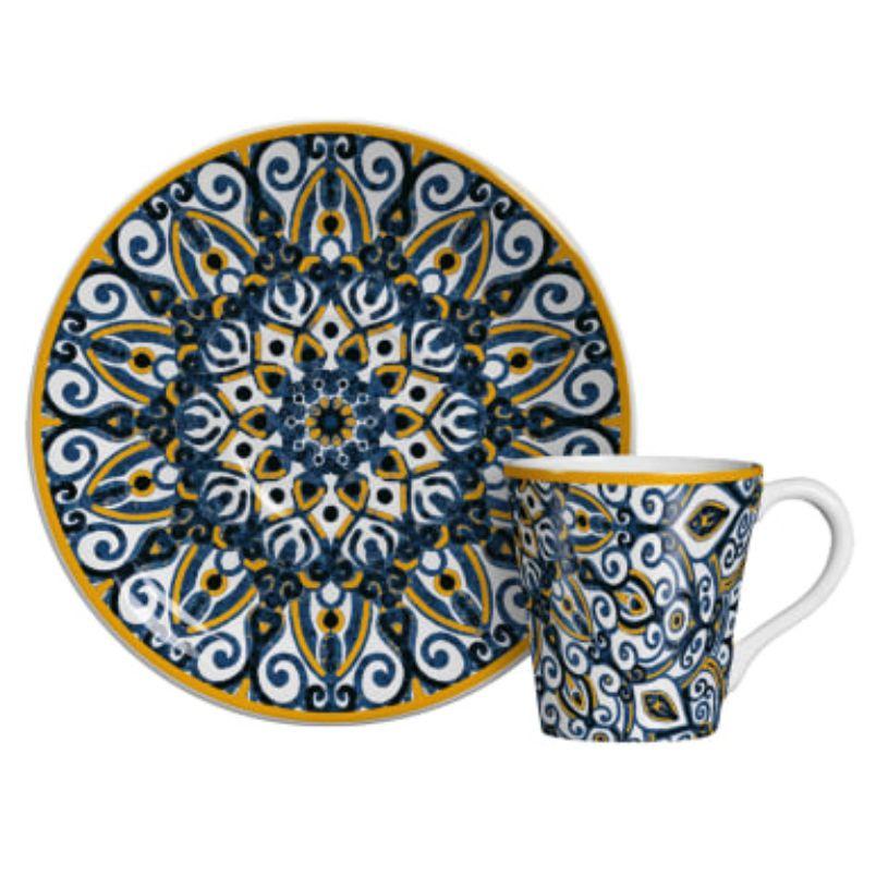 Xícara p/ Café Bombaim Azul com Amarelo (6 Unidades)