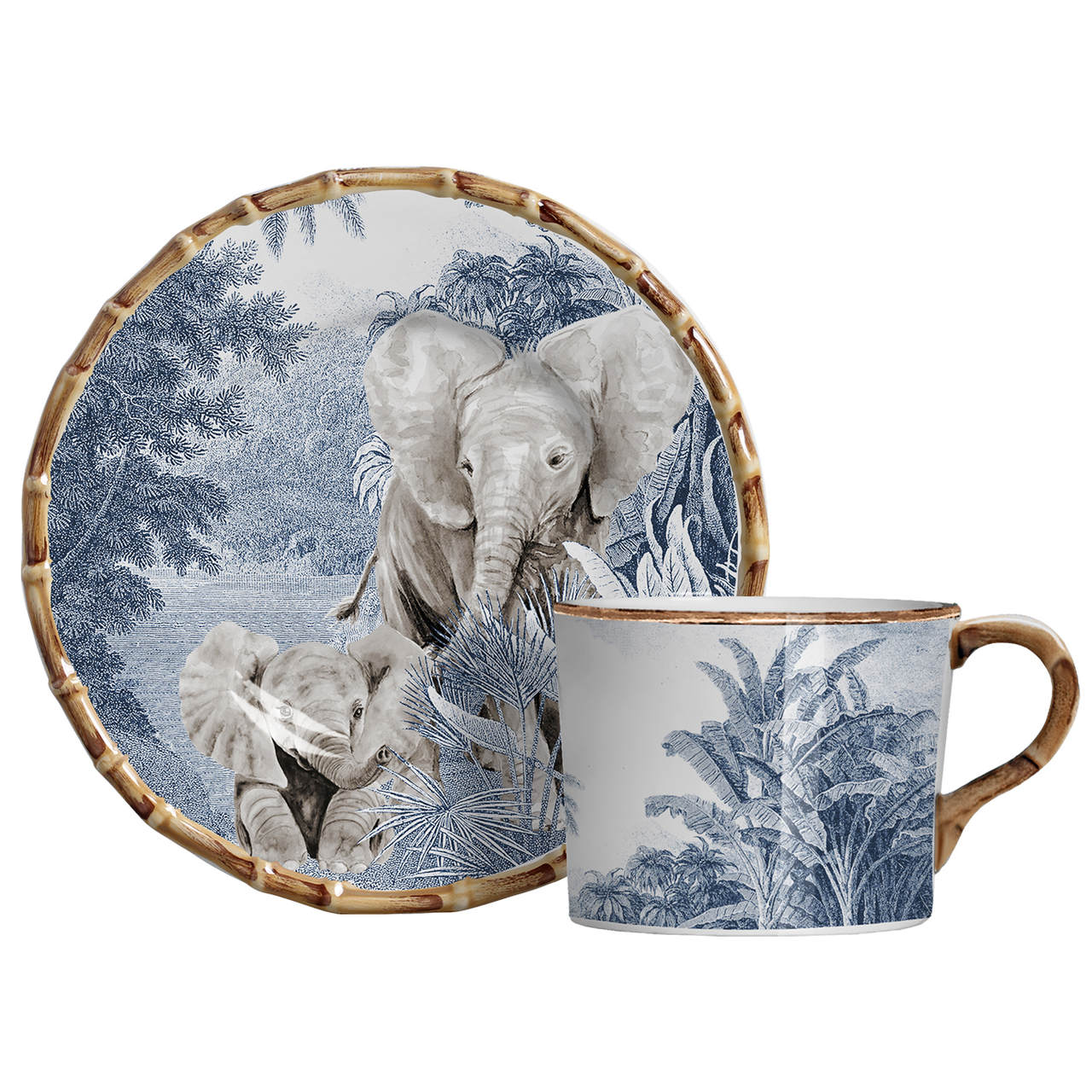 Xícara de Café c/ Pires Elefante African Toile (06 Unidades) Cód.: 6083 - MB