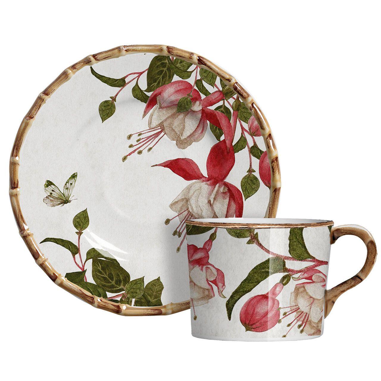 Xícara de Café c/ Pires Fuchsia Flowers (6 Unidades)
