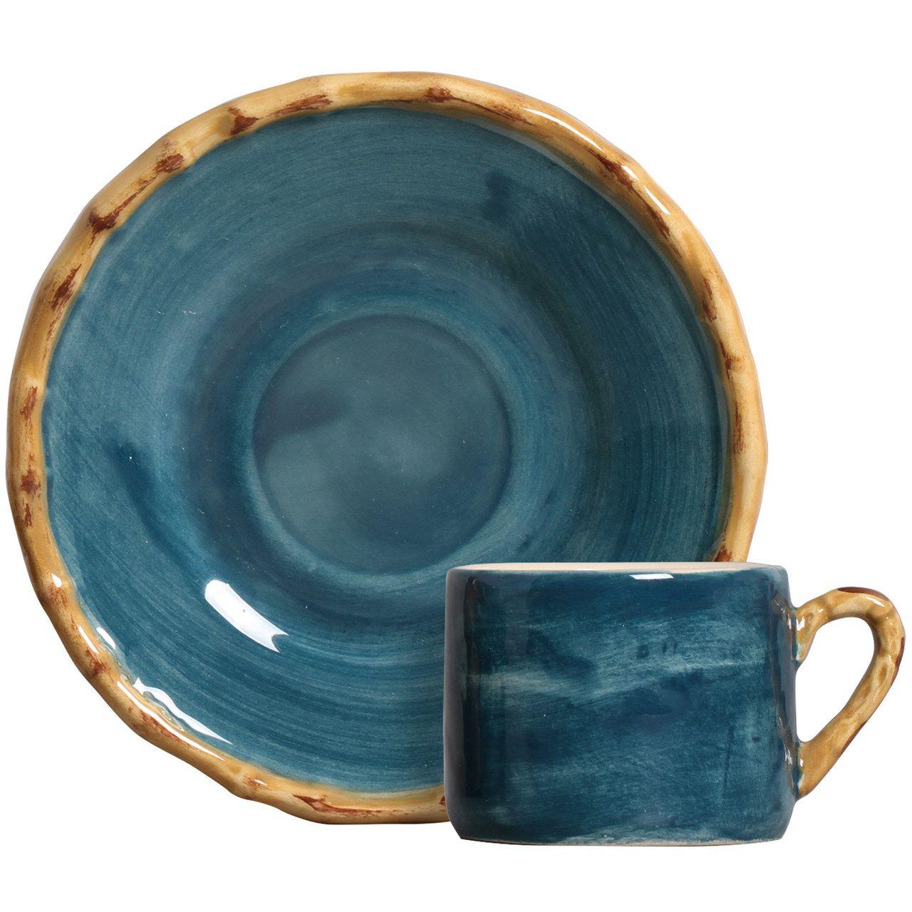 Xícara de Café c/ Pires Pintado a Mão Azul (06 Unidades) - MB