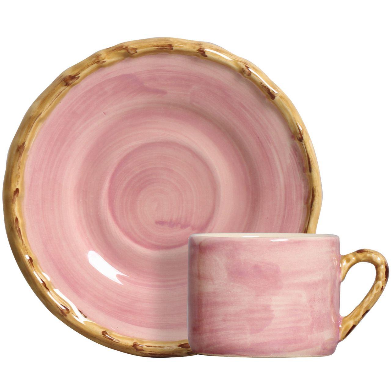 Xícara de Café c/ Pires Pintado a Mão Rosa (06 Unidades) - MB