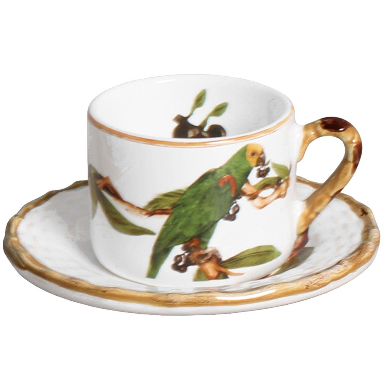 Xícara de Café c/ Pires Tropical Birds (06 Unidades) Cód.: 6064 - MB