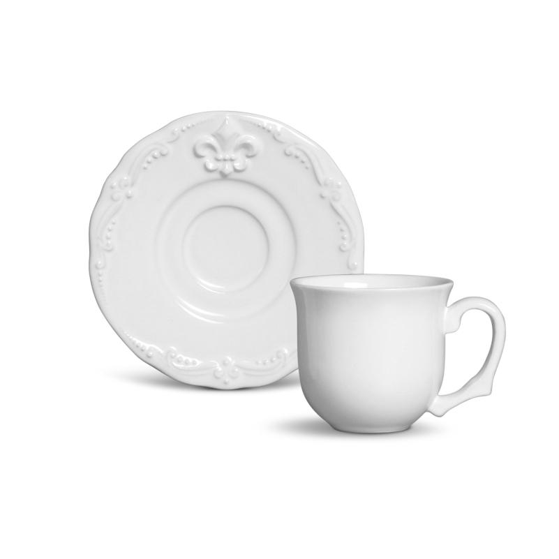 Xícara p/ Café Flor de Lis Branco (6 Unidades)