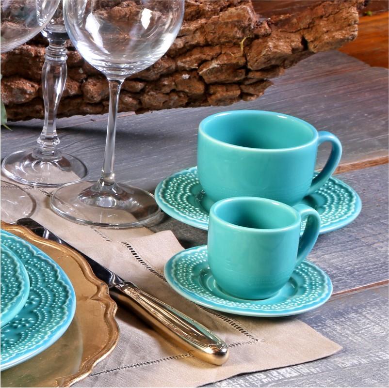 Xícara p/ Café com Pires Madeleine Azul Poppy  (6 Unidades)