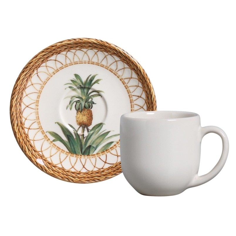 Xícara p/ Café Pineapple Natural (6 Unidades)