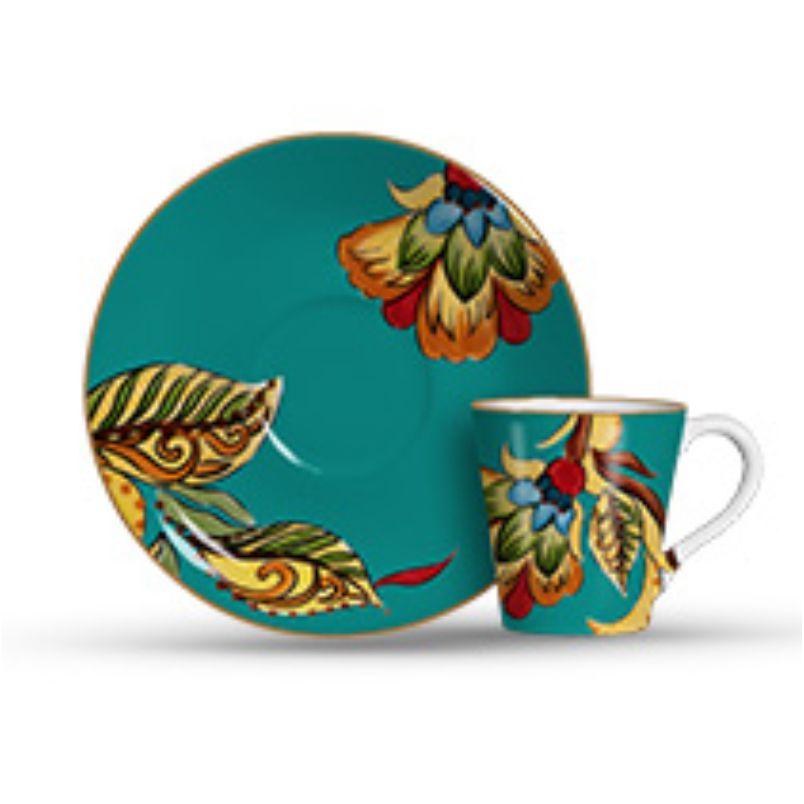 Xícara p/ Café Flora Azul (6 Unidades)