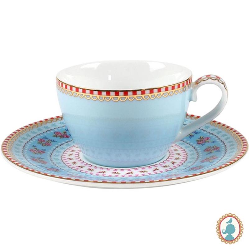 Xícara de Cafezinho c/ Pires Azul Floral Pip Studio
