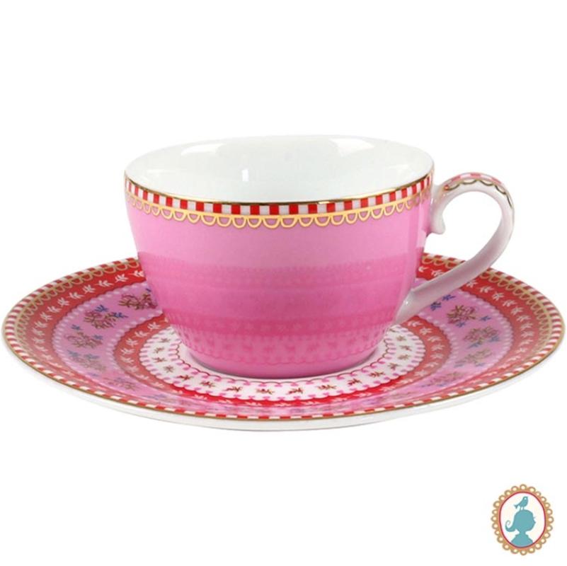 Xícara de Cafezinho c/ Pires Rosa Floral Pip Studio