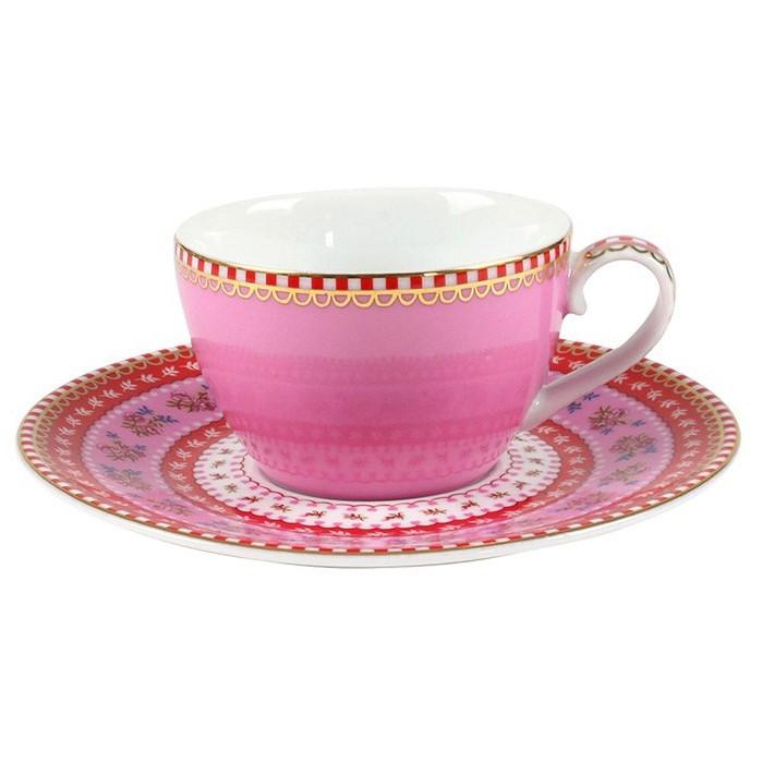 Xícara de Cafezinho c/ Pires Rosa - Floral - Pip Studio